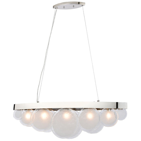 Zoetrope 5-Light Linear Chandelier in Polished Chrome and White and Clear