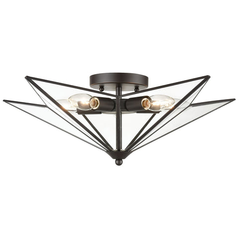 Moravian Star 5-Light Flush Mount in Oil Rubbed Bronze - Large
