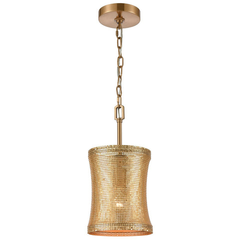 Correspondence 1-Light Mini Pendant in Gold and Satin Brass