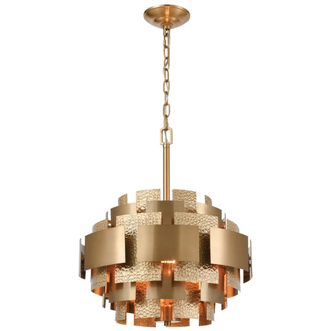 Case the Joint 3-Light Pendant in Satin Brass with Metal Panels