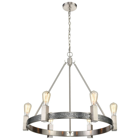 Impression 6-Light Chandelier in Silver and Satin Nickel