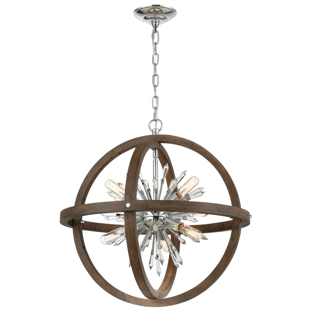 Morning Star 10-Light Chandelier in Aged Wood and Polished Chrome