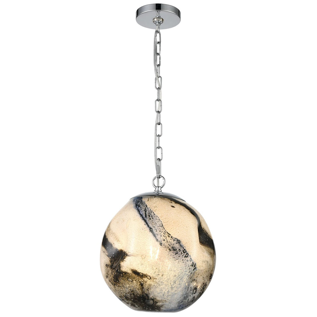 Blue Planetary 1-Light Pendant in Blue Planet and Chrome