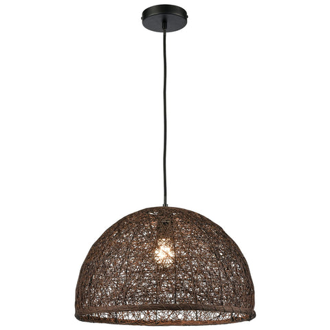 Casing 1-Light Pendant in Brown with a Hand-woven Paper Rope Shade
