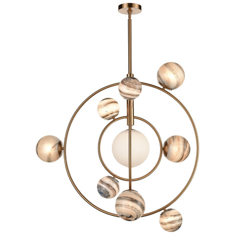 Orbital 10-Light Chandelier in Grey Planet and Aged Brass with Glass Orbs