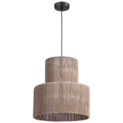 Corsair 1-Light Pendant in Natural Finish with a Woven Jute Shade