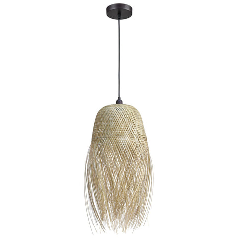 Marooner 1-Light Pendant in Natural Finish with a Woven Bamboo Shade
