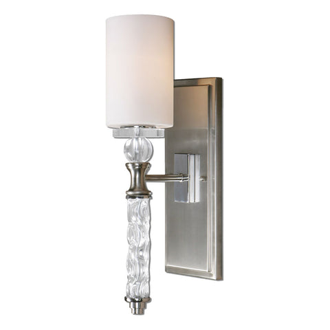 Campania 1 Light Carved Glass Wall Sconce
