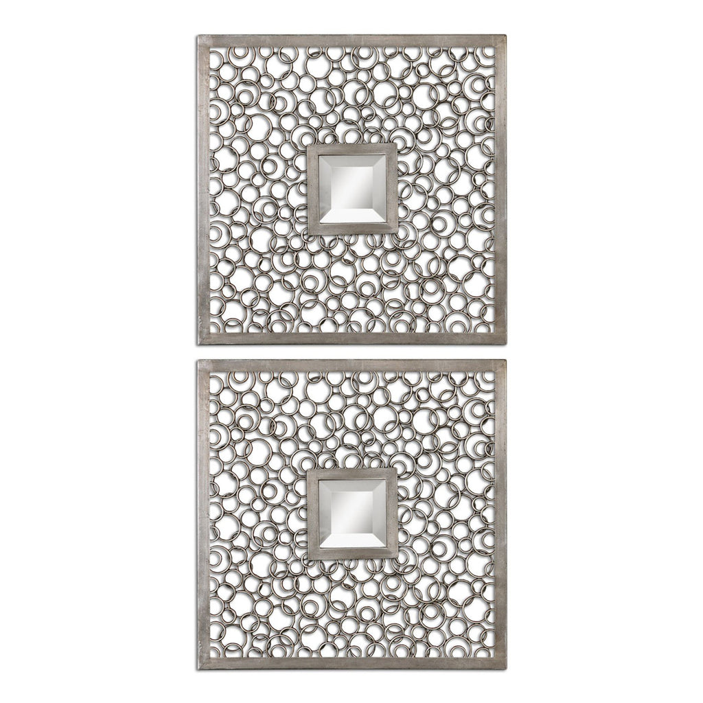 Colusa Squares Silver Mirror, Set of 2