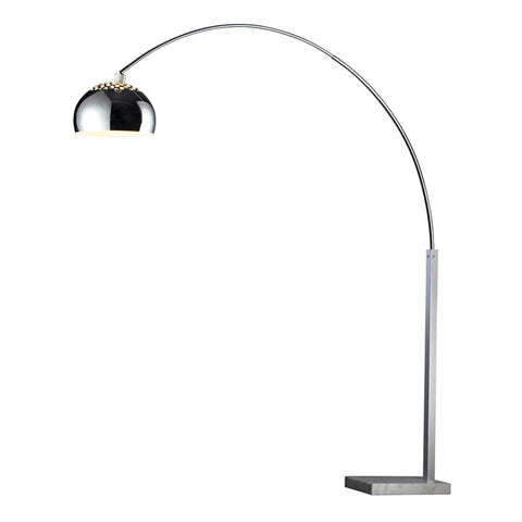 Penbrook 1-Light Silver Plated and White Marble Floor Lamp