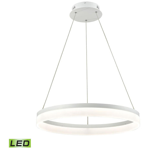 Cycloid 1-Light LED Pendant in Matte White with Acrylic Diffuser - Medium