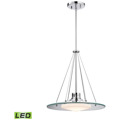 Tribune 1-Light LED Pendant in Chrome and Opal Glass