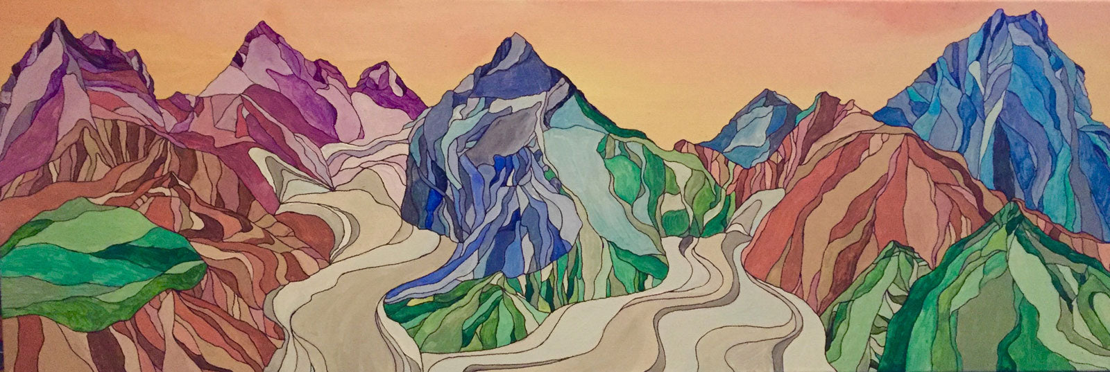 Blackstone and Beloit Glacier | Whittier, AK Acrylic and Ink by Artist Kelli Spencer