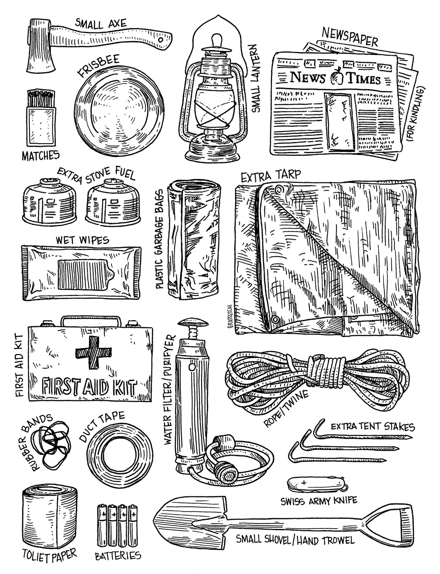 Car Camping Supplies by Illustrator Teresa Grasseschi