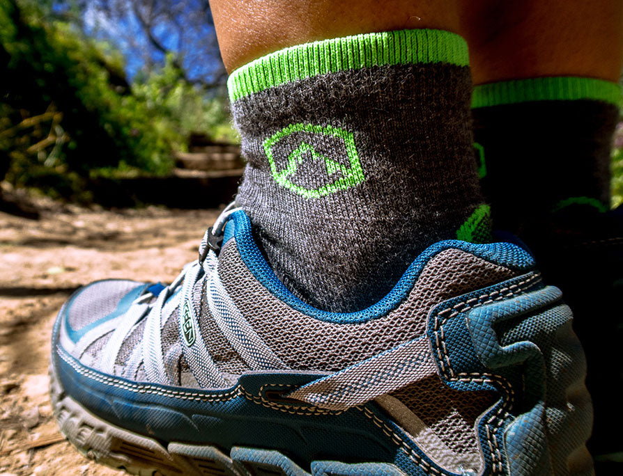 CloudLine merino wool trail running socks on the trail