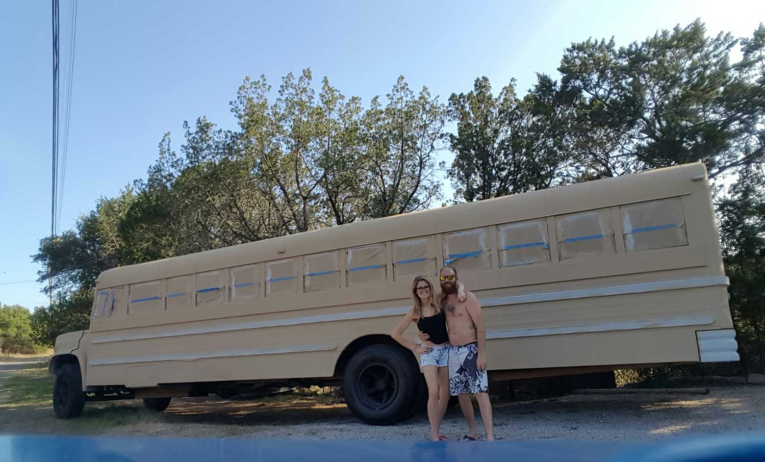 Elle & Jeff and their School Bus Conversion with fresh paint