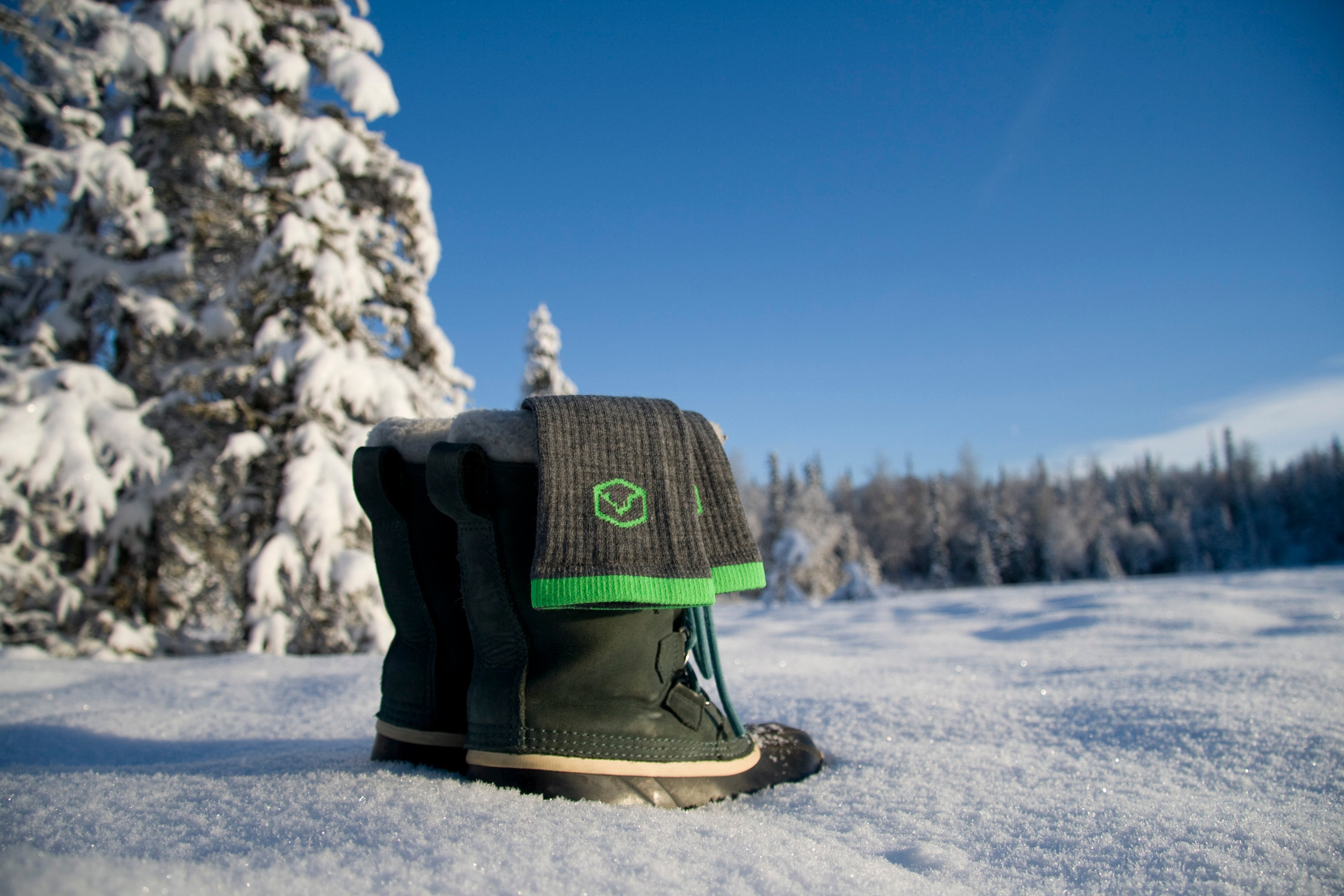 A fresh pair of CloudLine merino wool hiking socks ready for adventure