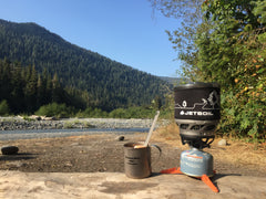 Use your backpacking stove to rehydrate your homemade backpacking meal
