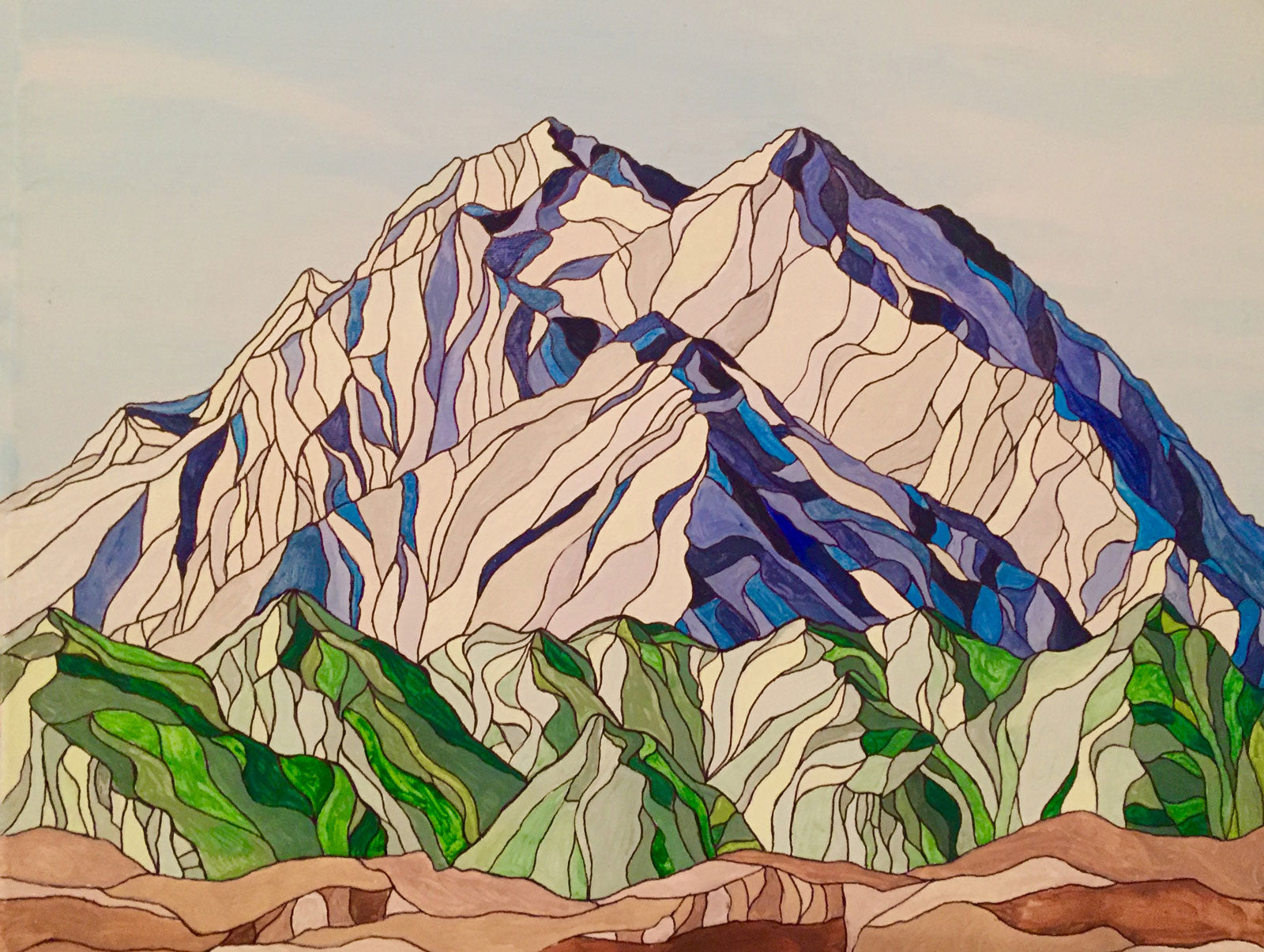 Mt. McKinley | Denali National Park, AK Acrylic and Ink by Artist Kelli Spencer