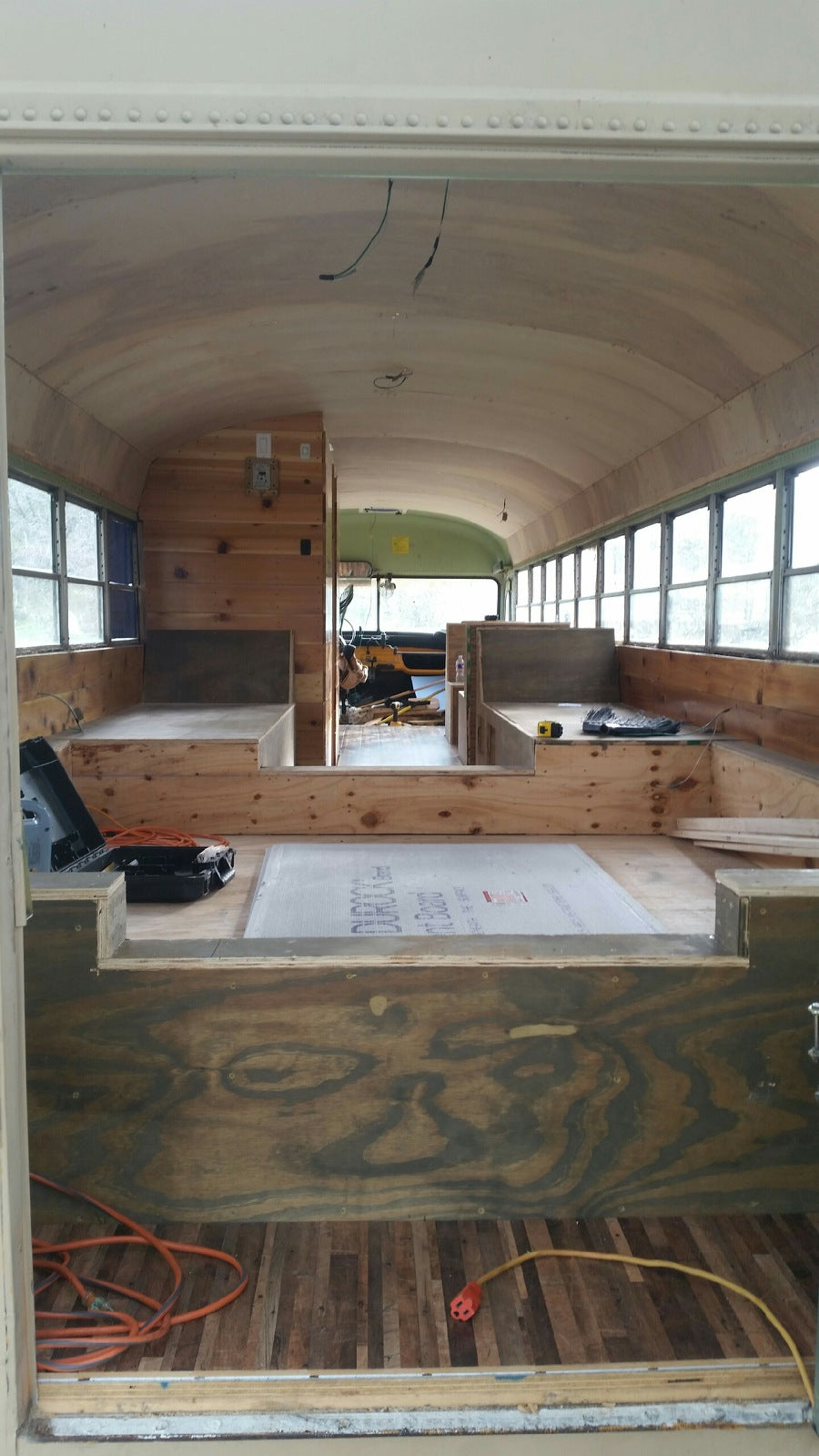 School Bus Conversion - Interior Wood Work in Progress