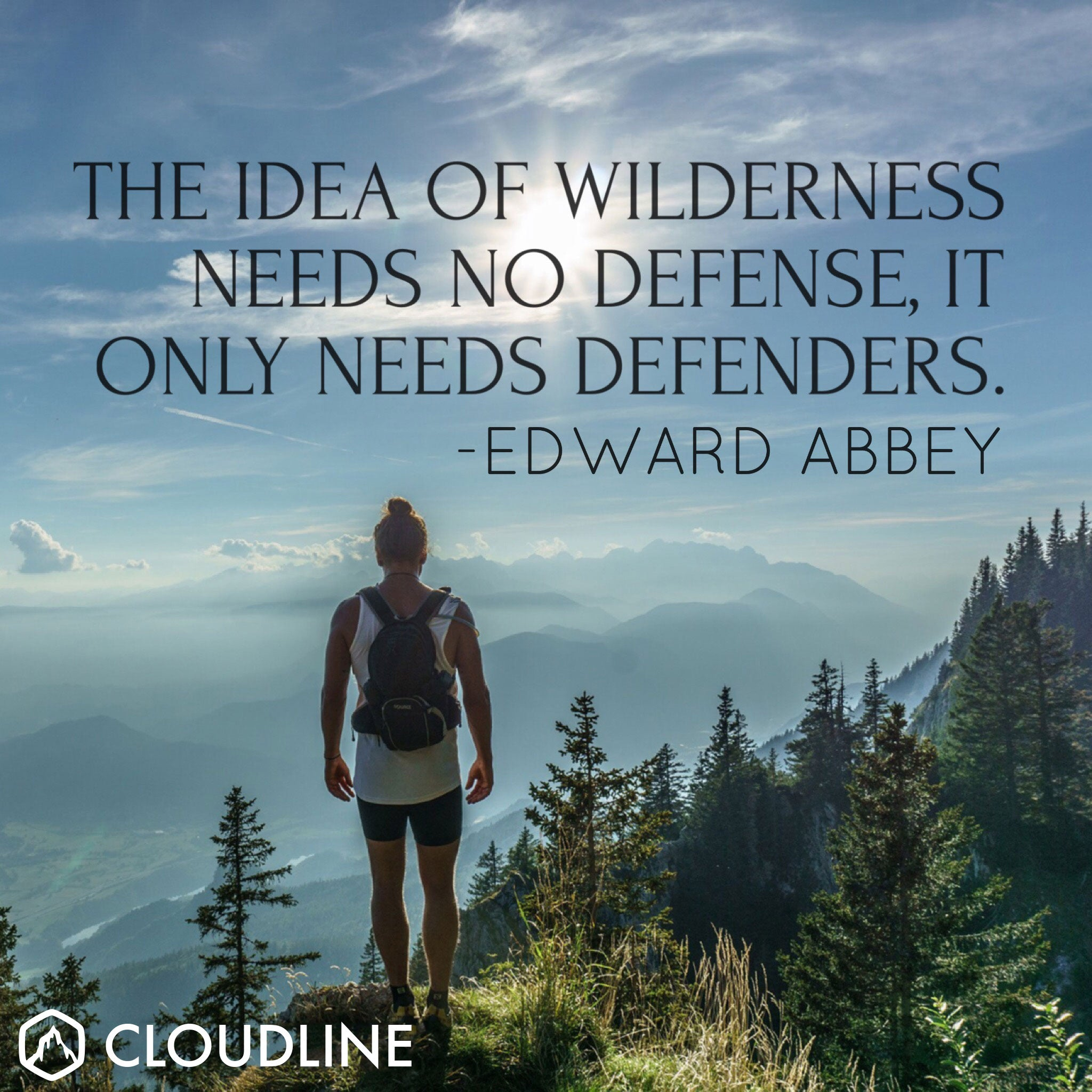 """The idea of wilderness needs no defense, it only needs defenders."" - Edward Abbey"