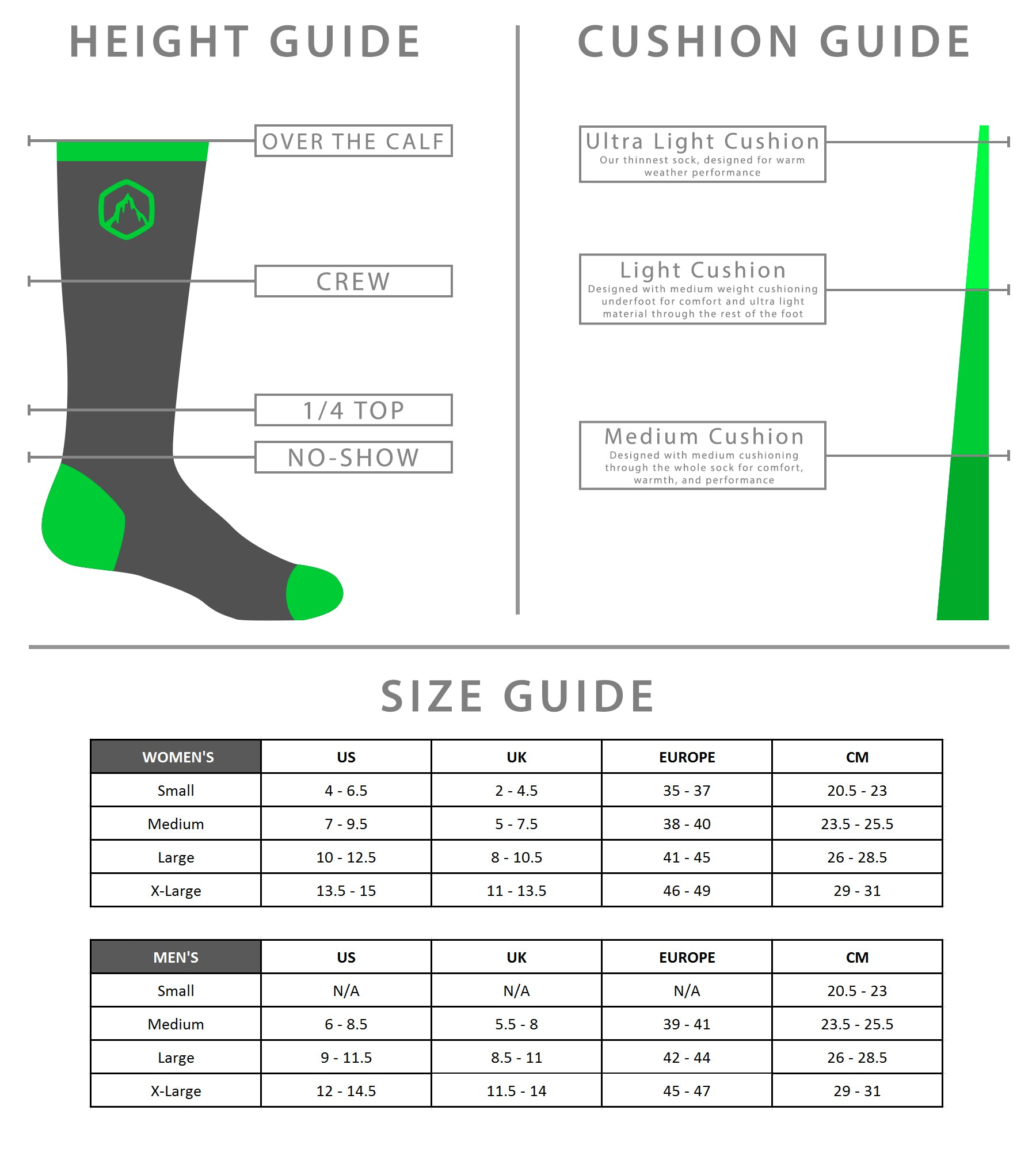 CloudLine Merino Wool Socks - Size and Style Guide