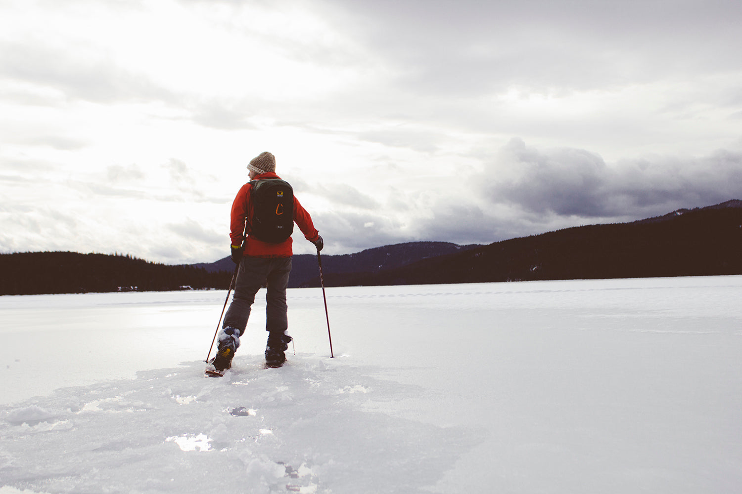 Use snowshoes for deep snow when backpacking or camping