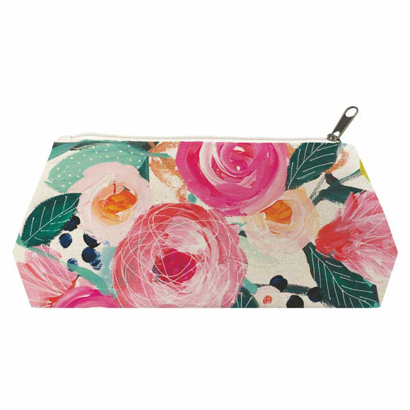 La Belle Rose Canvas Cosmetic Bag ~ Medium