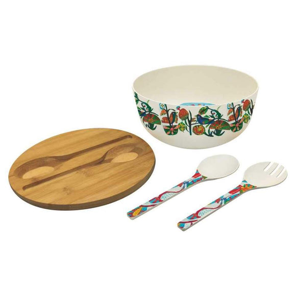 Bamboo Salad Bowl with Bamboo Lid & Utensils