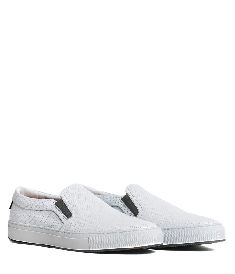 Sure Shot Slip-On Sneaker - White Perf Nappa - Good Man Brand