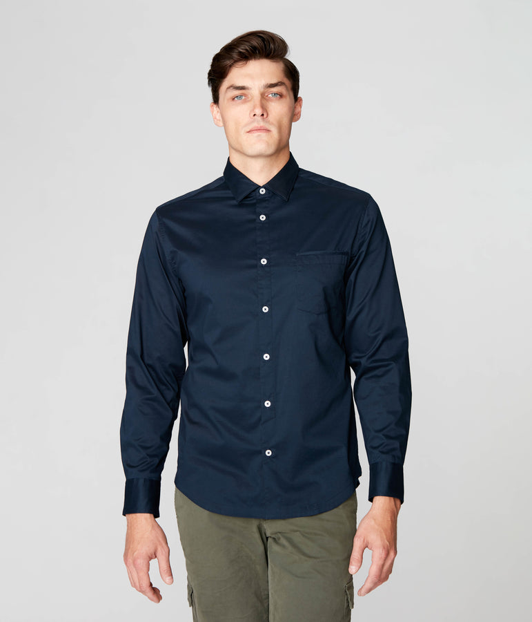 On-Point Solid Shirt - Navy - Good Man Brand