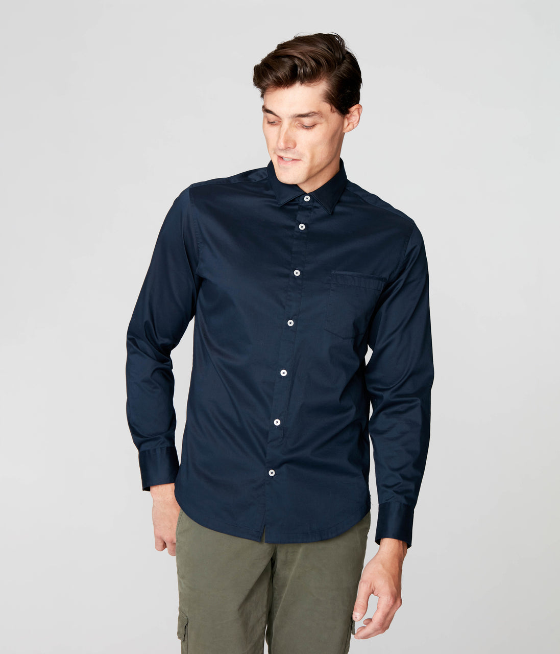 On-Point Solid Shirt - Navy - Good Man Brand - On-Point Solid Shirt - Navy