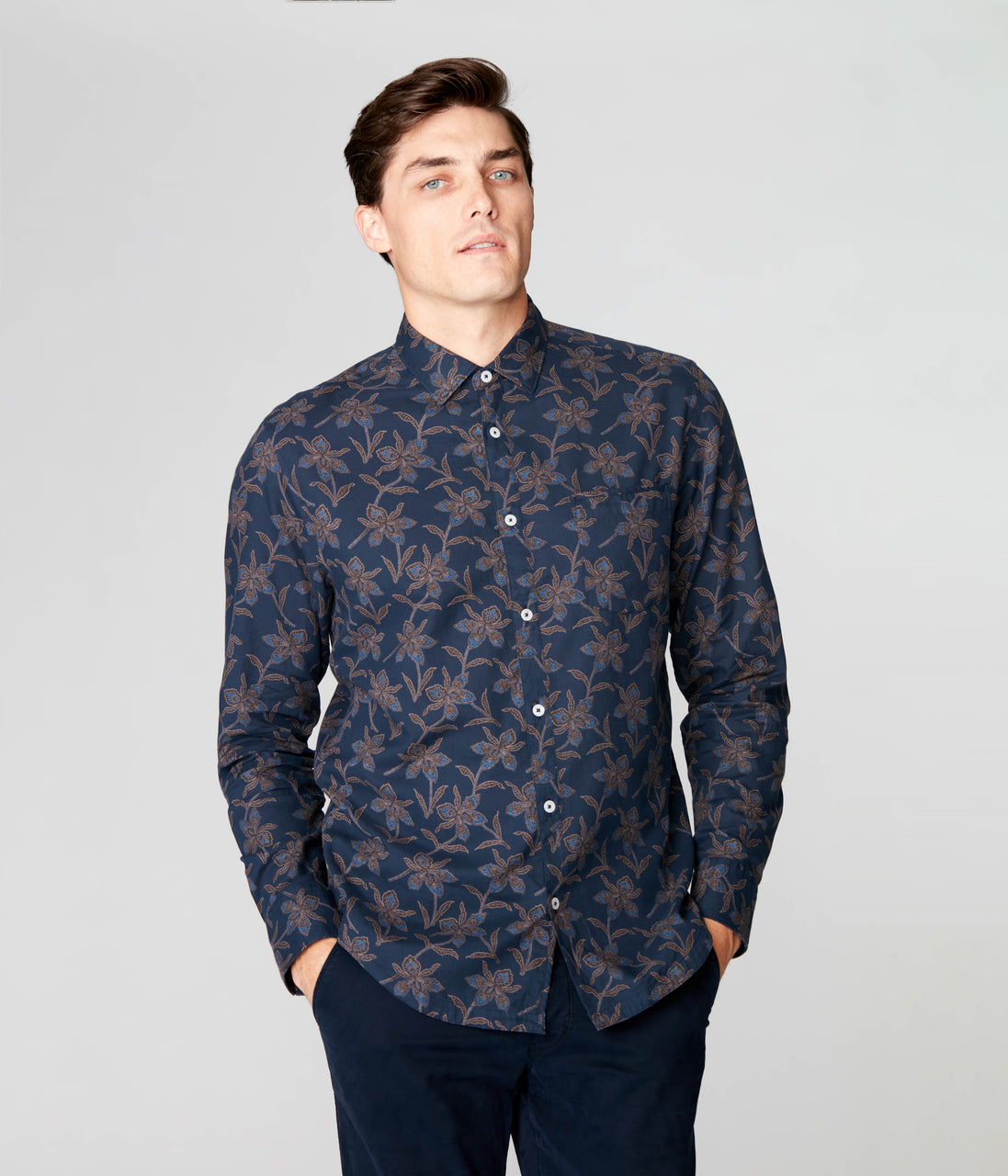 On-Point Print Shirt - Navy Magnolia Floral - Good Man Brand - On-Point Print Shirt - Navy Magnolia Floral