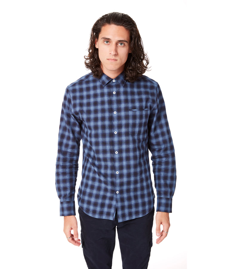 Navy Century Shadow On-Point Plaid Shirt - Good Man Brand