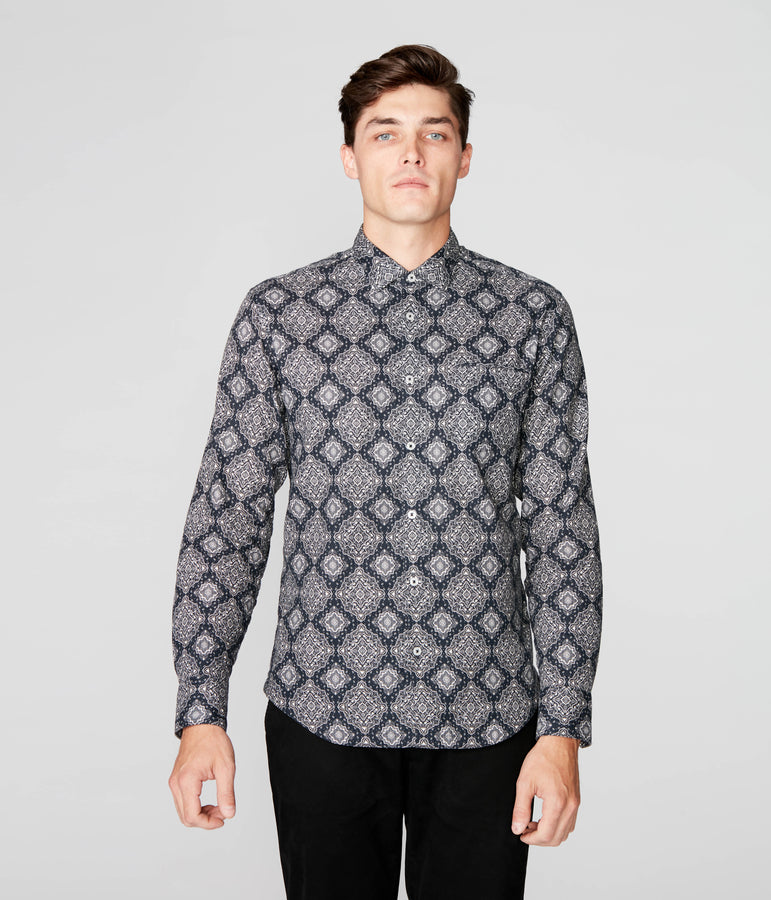 On-Point Print Shirt - Black Medallion Paisley - Good Man Brand