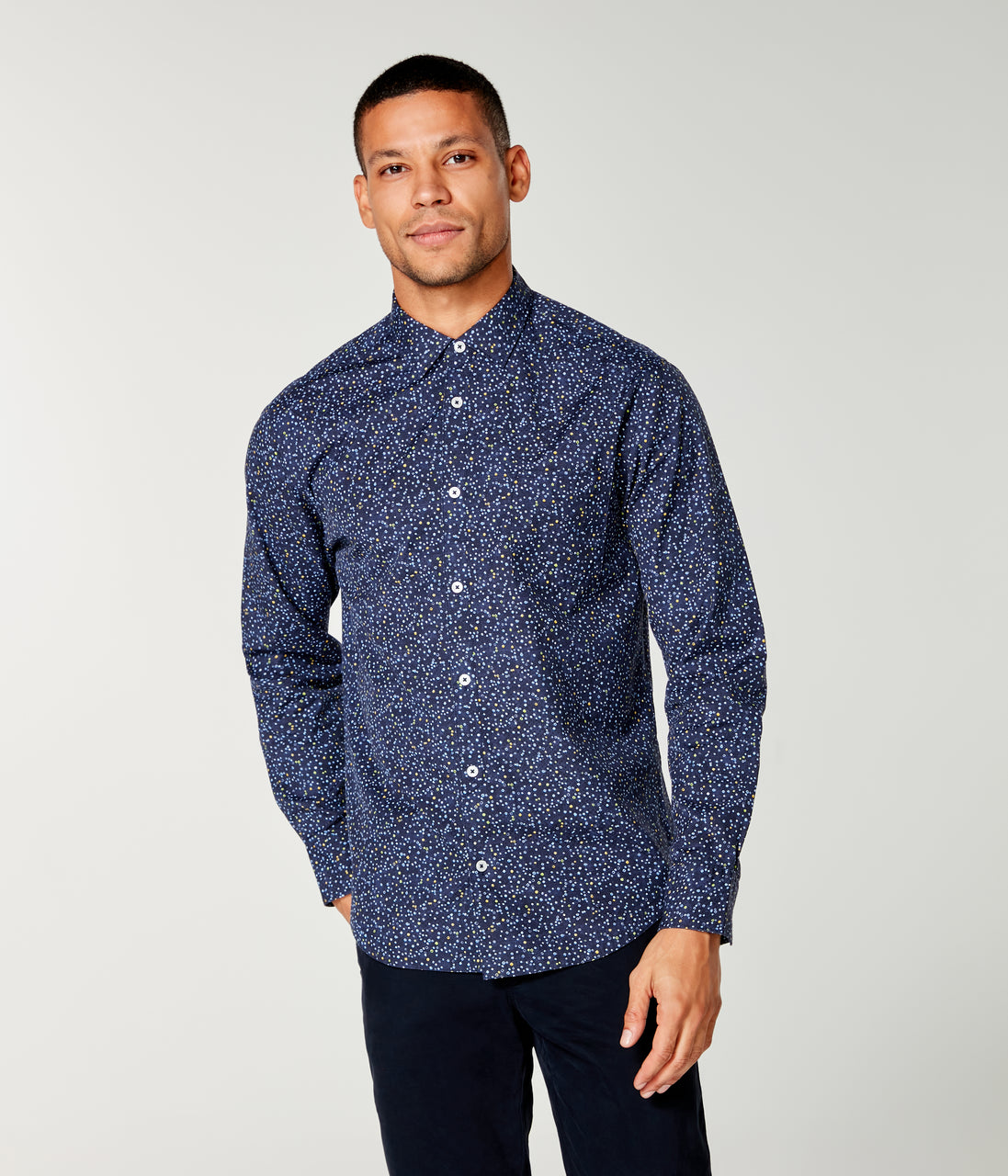 On-Point Print Shirt - Blue Topaz Organic Micro Dot - Good Man Brand - On-Point Print Shirt - Blue Topaz Organic Micro Dot