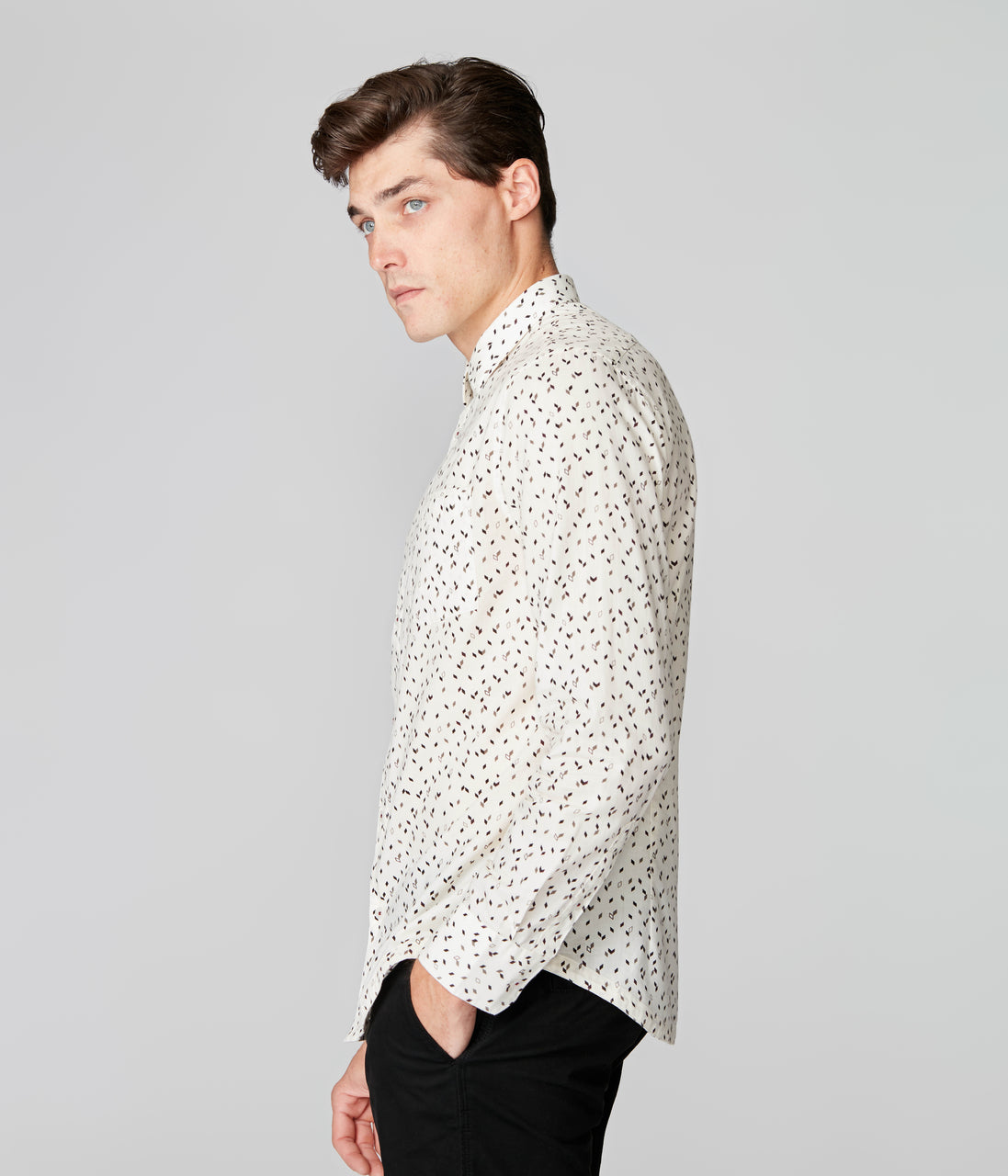 On-Point Print Shirt - Cream Falling Diamond - Good Man Brand - On-Point Print Shirt - Cream Falling Diamond