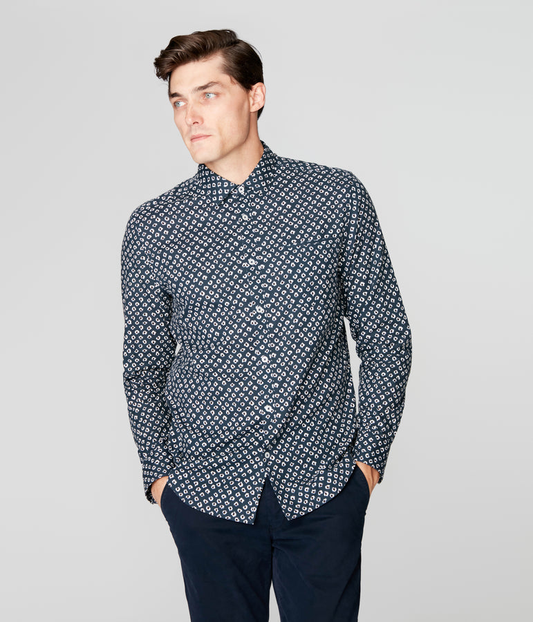 On-Point Print Shirt - Indigo Lynx Jaguar - Good Man Brand