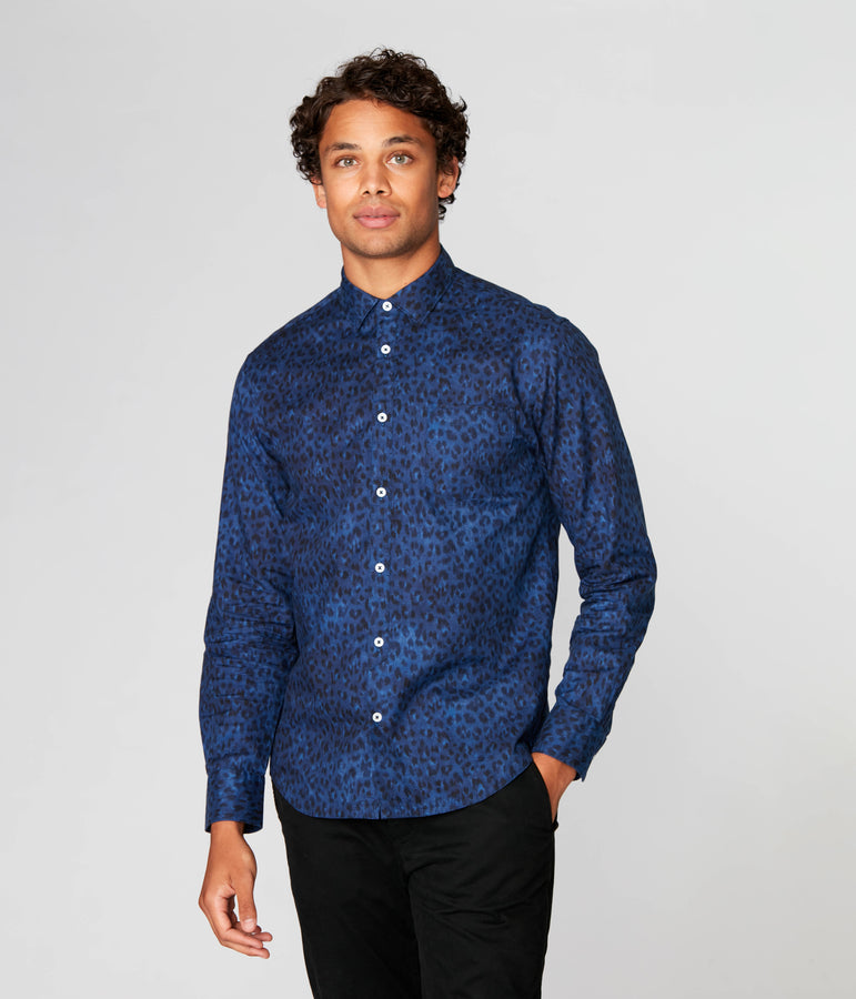 On-Point Print Shirt - Indigo Ombre Animale - Good Man Brand