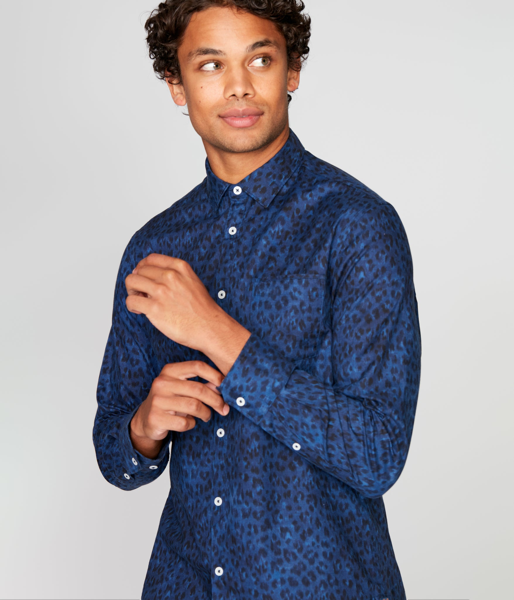 On-Point Print Shirt - Indigo Ombre Animale