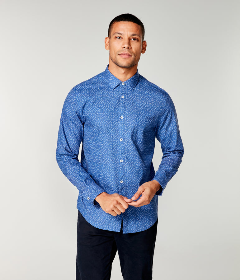 On-Point Print Shirt - Indigo Square Dot - Good Man Brand