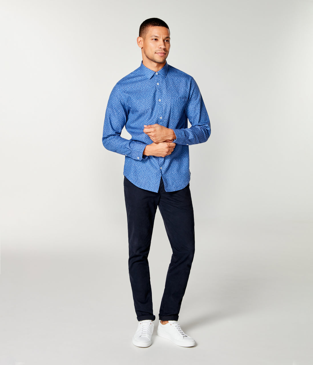 On-Point Print Shirt - Indigo Square Dot - Good Man Brand - On-Point Print Shirt - Indigo Square Dot