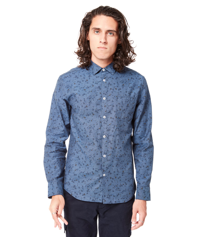 Indigo Italian Daisy On-Point Print Shirt - Good Man Brand