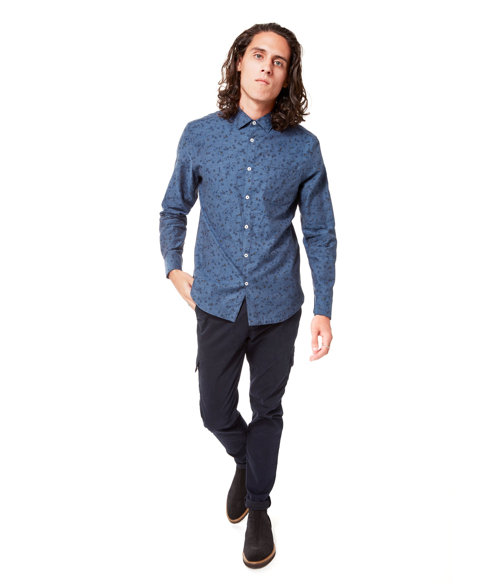 Indigo Italian Daisy On-Point Print Shirt