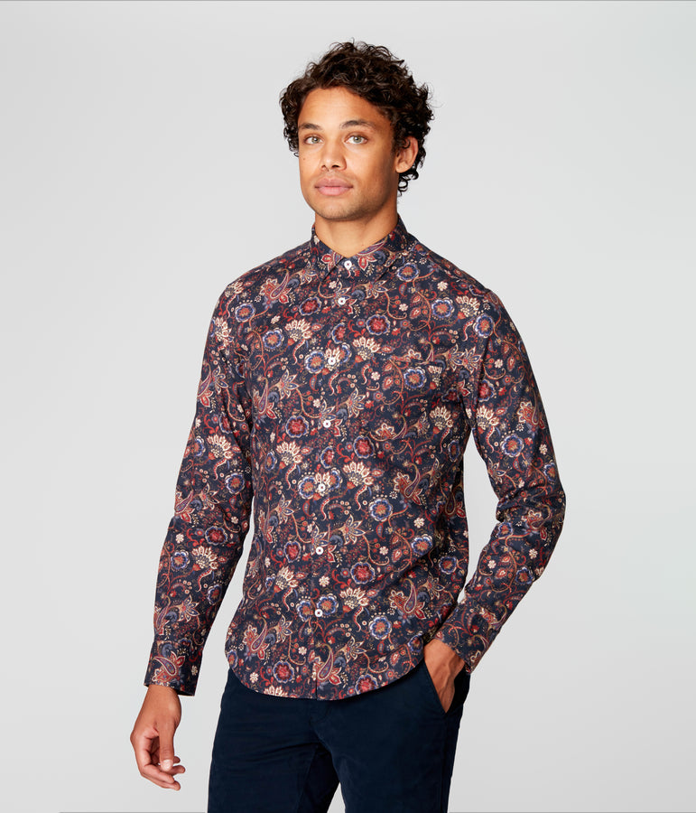 On-Point Print Shirt - Navy English Floral - Good Man Brand