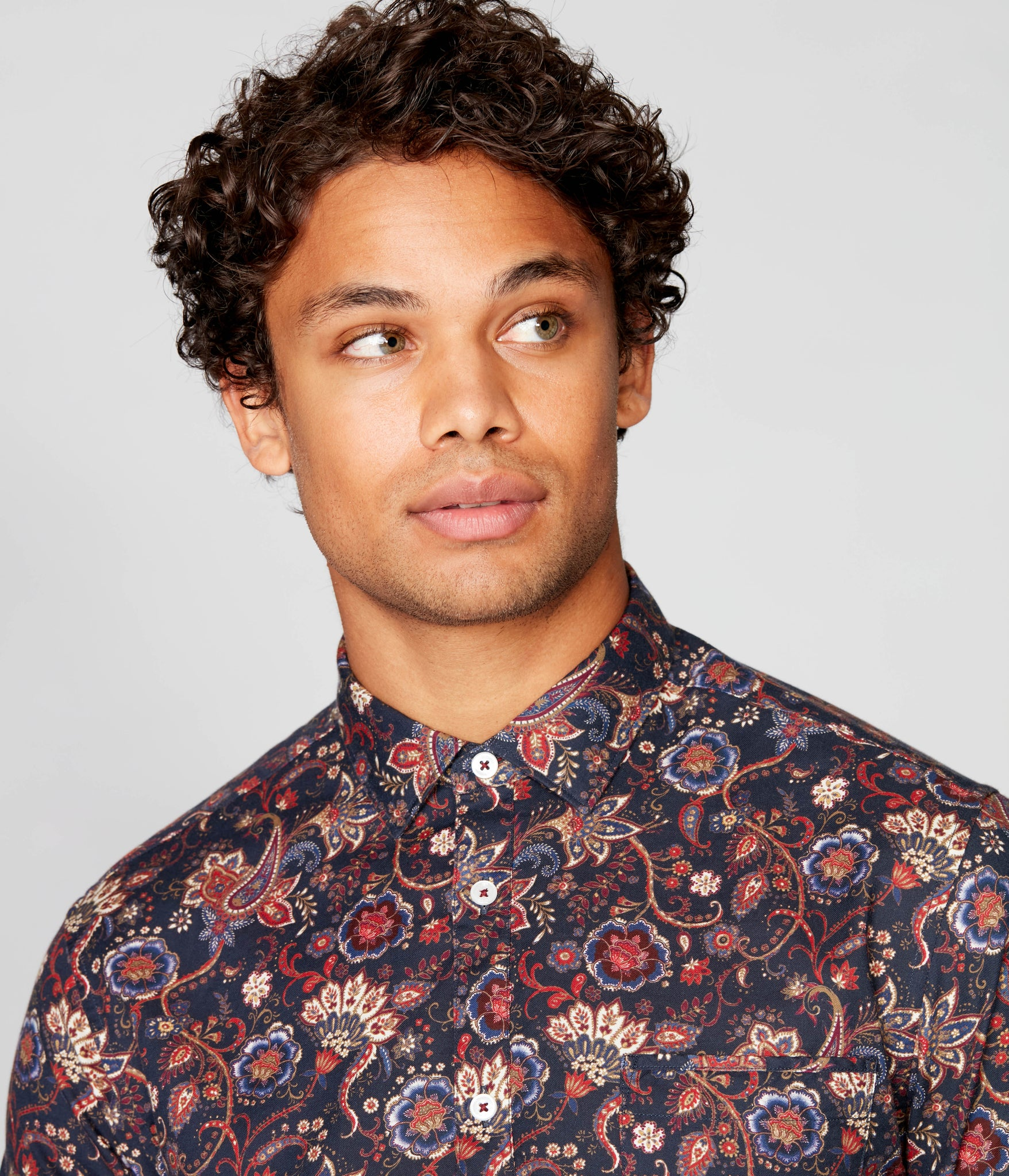 On-Point Print Shirt - Navy English Floral