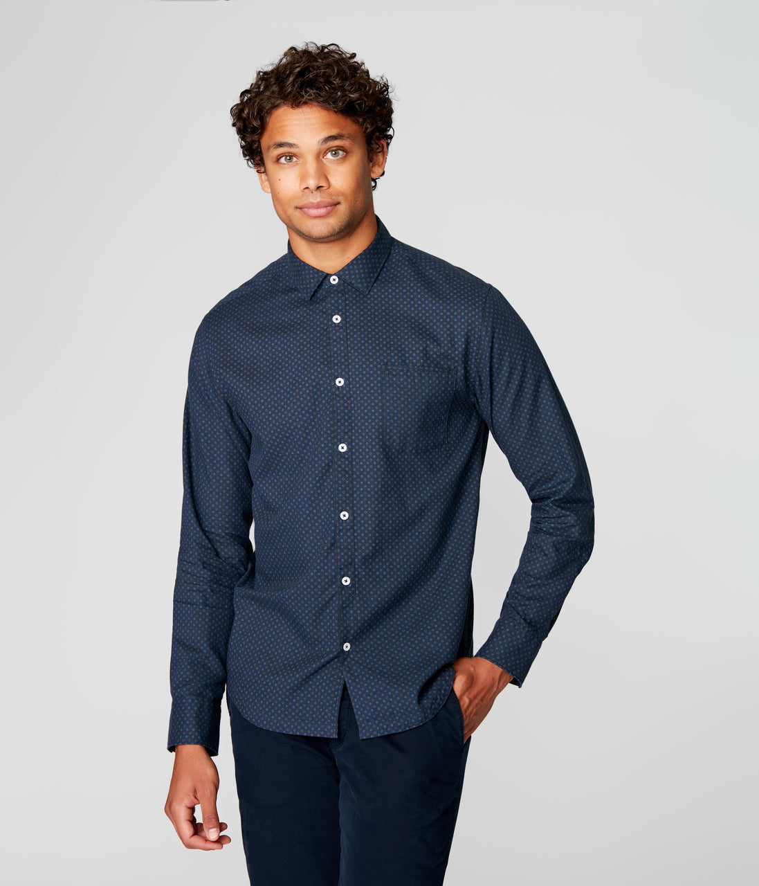 On-Point Print Shirt - Navy Falling Square Dot - Good Man Brand - On-Point Print Shirt - Navy Falling Square Dot