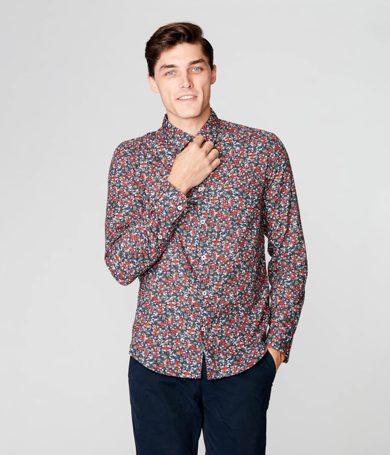 On-Point Print Shirt - Navy Luxembourg Floral - Good Man Brand