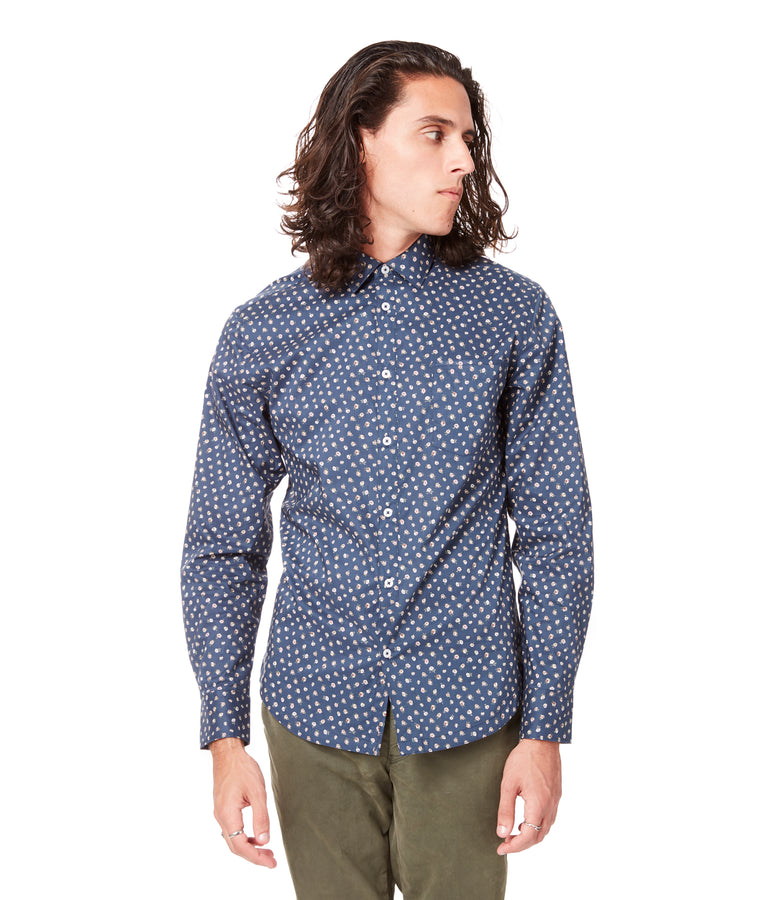 Navy Garden Rose On-Point Print Shirt - Good Man Brand