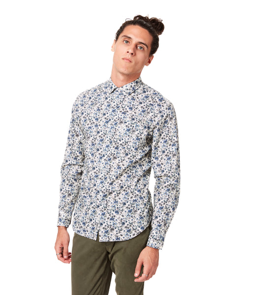 Navy Royal Floral On-Point Print Shirt - Good Man Brand -